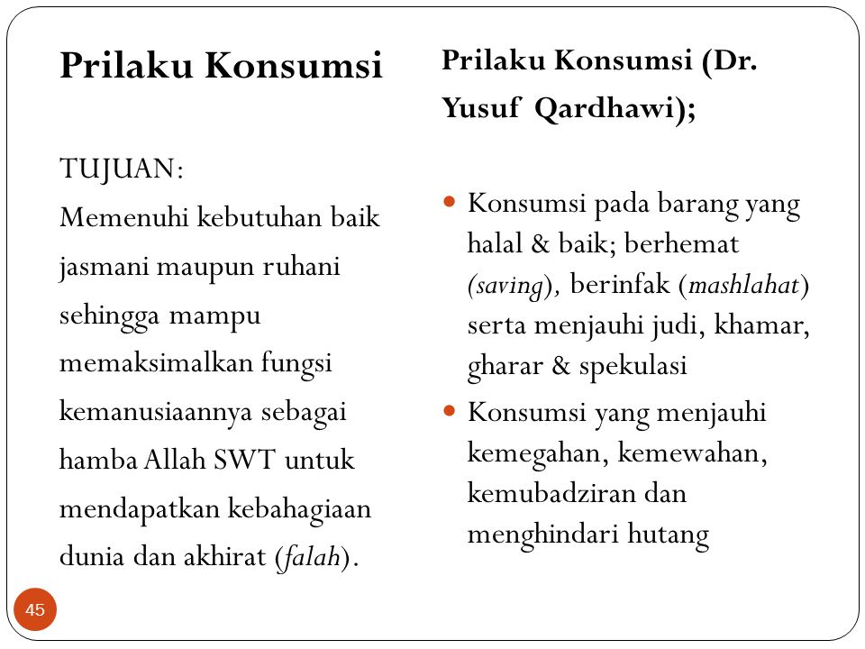 Prilaku Konsumsi Prilaku Konsumsi (Dr. Yusuf Qardhawi); TUJUAN: