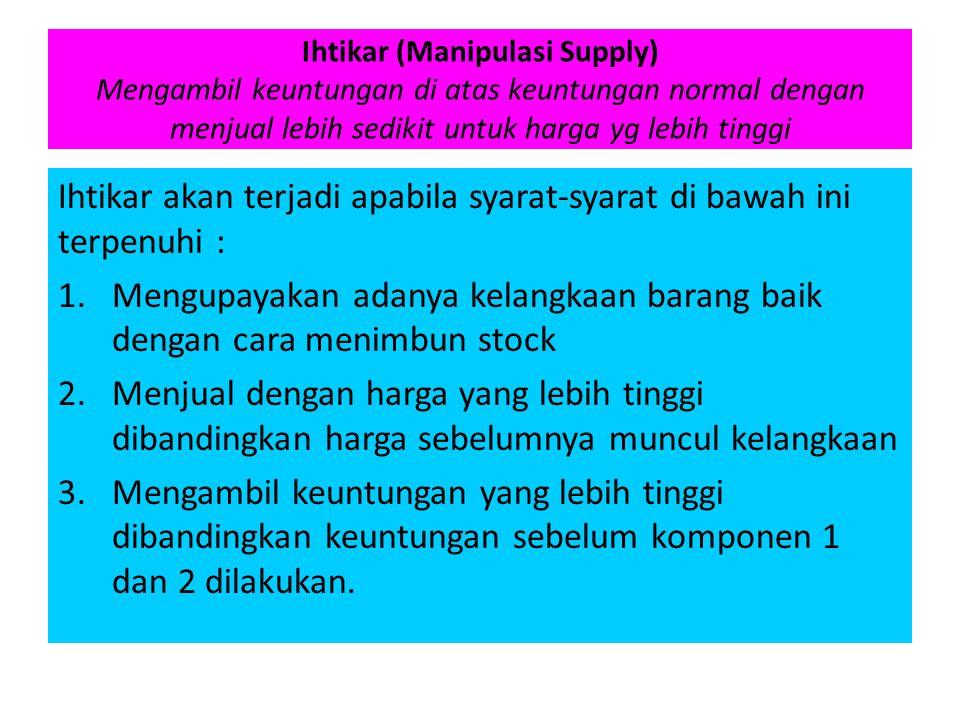 Ihtikar akan terjadi apabila syarat-syarat di bawah ini terpenuhi :