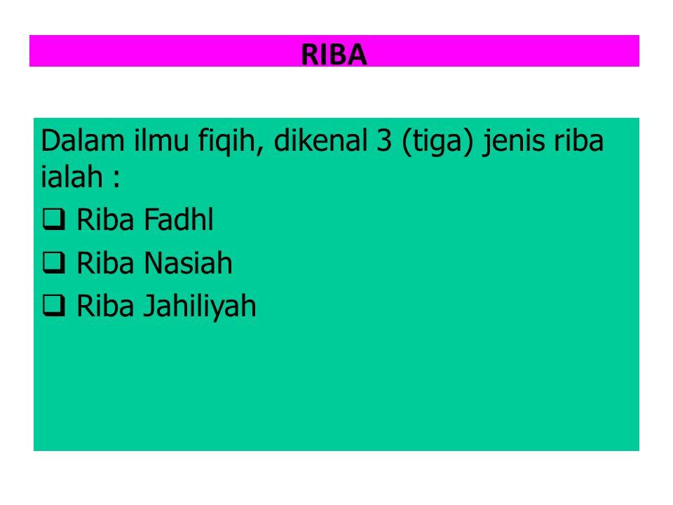 RIBA Dalam ilmu fiqih, dikenal 3 (tiga) jenis riba ialah : Riba Fadhl