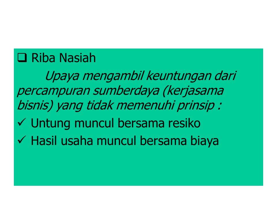 Riba Nasiah Upaya mengambil keuntungan dari percampuran sumberdaya (kerjasama bisnis) yang tidak memenuhi prinsip :