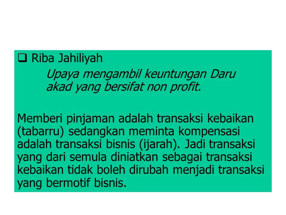 Riba Jahiliyah Upaya mengambil keuntungan Daru akad yang bersifat non profit.