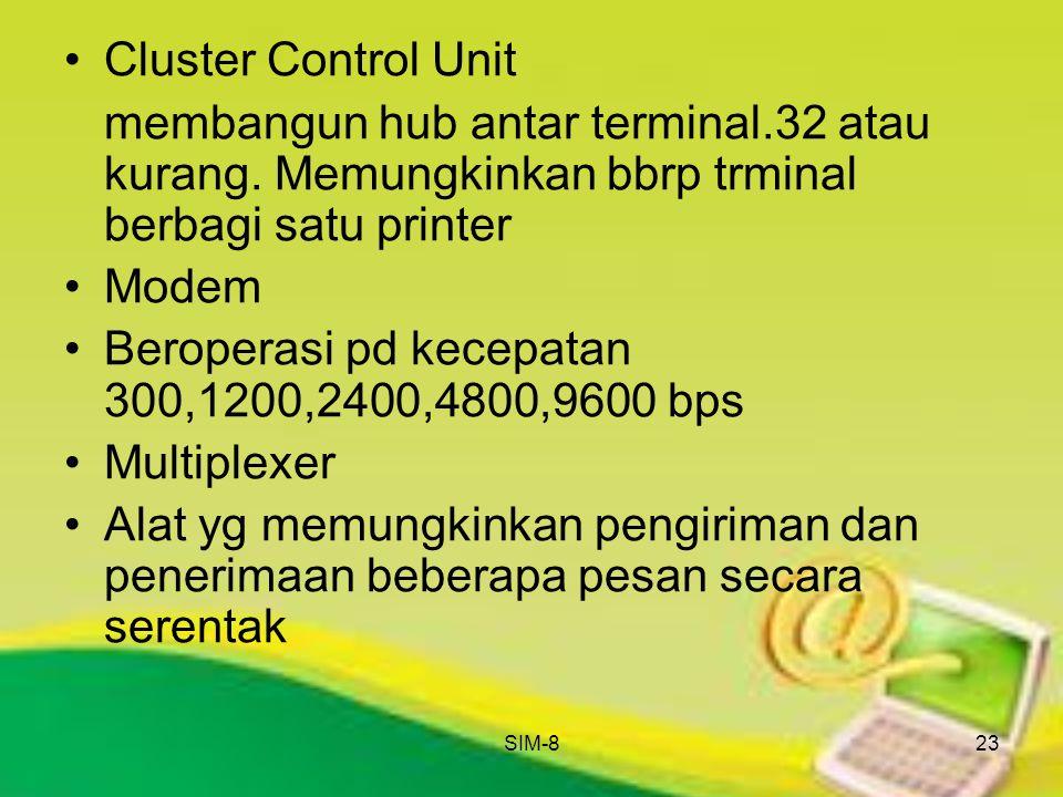 Beroperasi pd kecepatan 300,1200,2400,4800,9600 bps Multiplexer