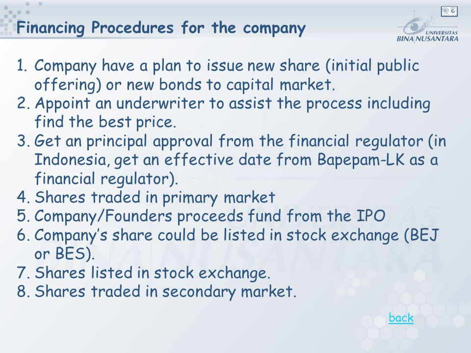 Financing Procedures for the company