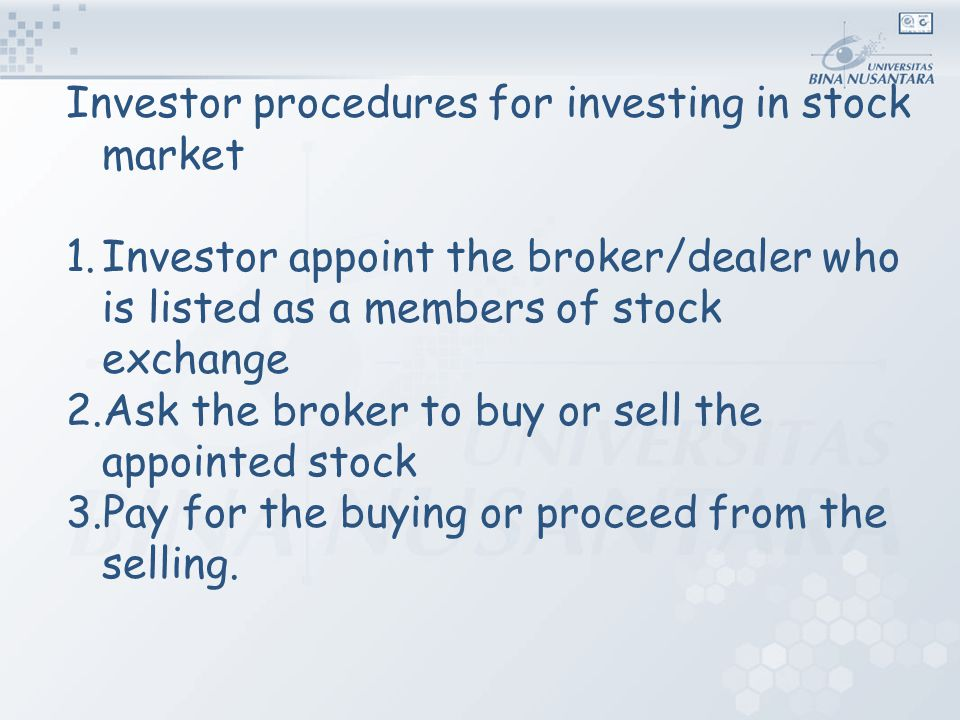Investor procedures for investing in stock market