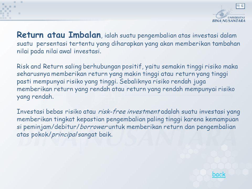 Return atau Imbalan, ialah suatu pengembalian atas investasi dalam suatu persentasi tertentu yang diharapkan yang akan memberikan tambahan nilai pada nilai awal investasi.