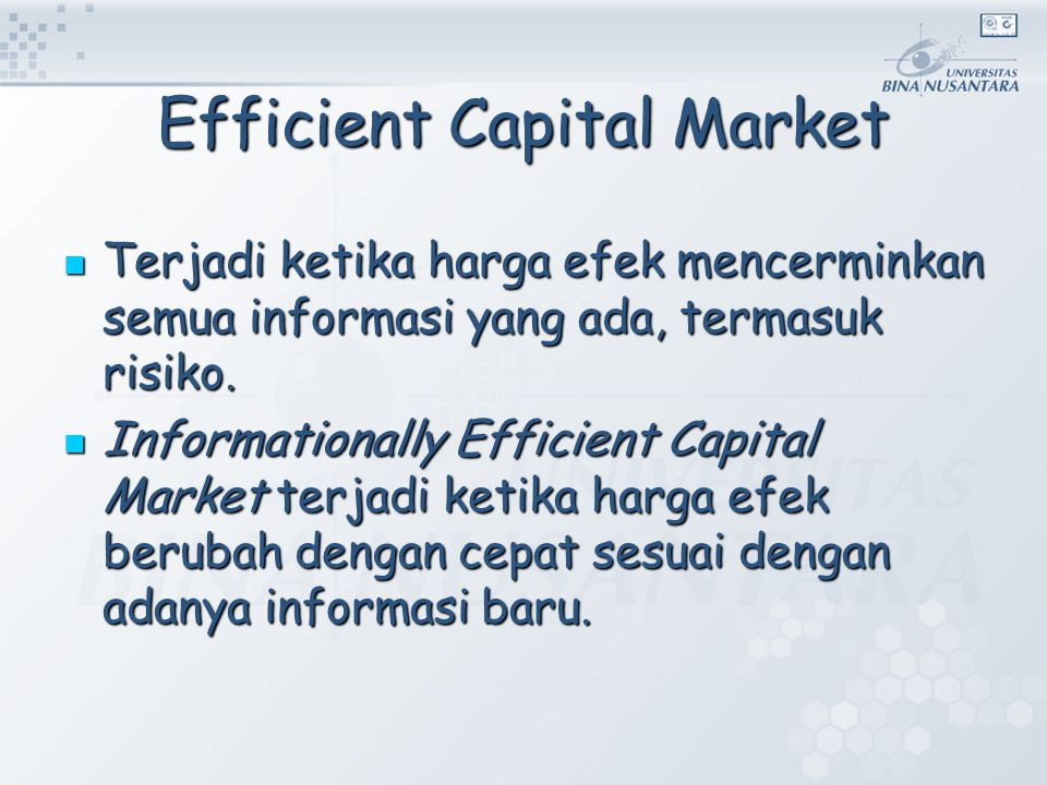 Efficient Capital Market