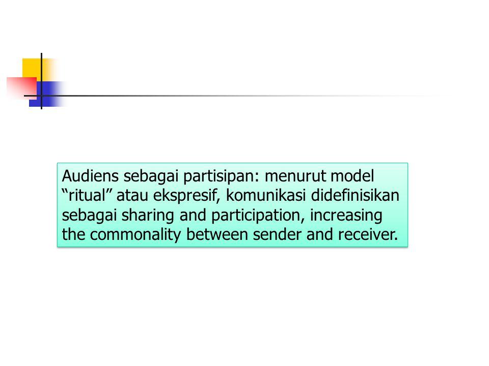 Audiens sebagai partisipan: menurut model ritual atau ekspresif, komunikasi didefinisikan sebagai sharing and participation, increasing the commonality between sender and receiver.