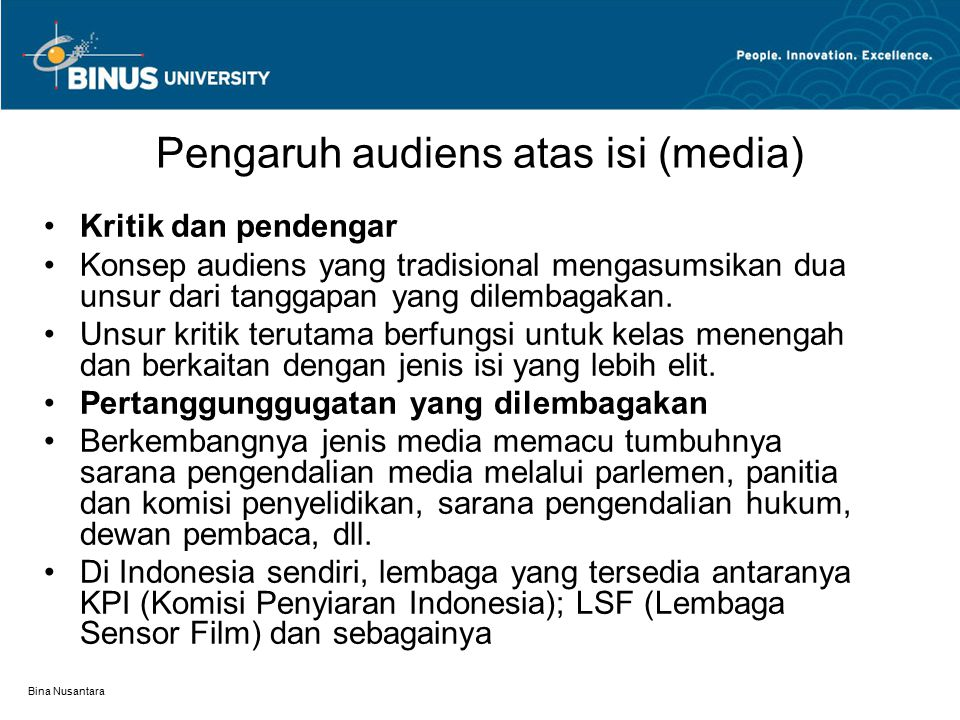 Pengaruh audiens atas isi (media)