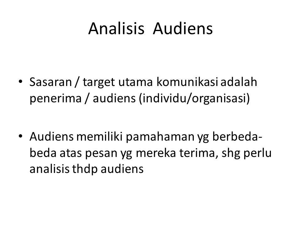 Analisis Audiens Sasaran / target utama komunikasi adalah penerima / audiens (individu/organisasi)