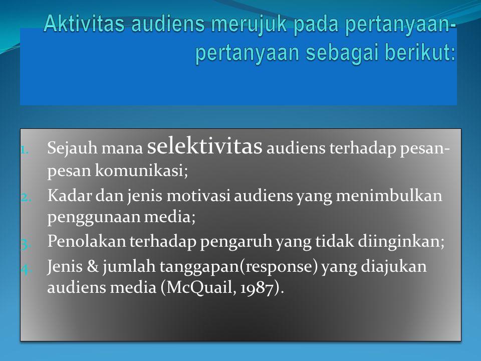 Aktivitas audiens merujuk pada pertanyaan-pertanyaan sebagai berikut: