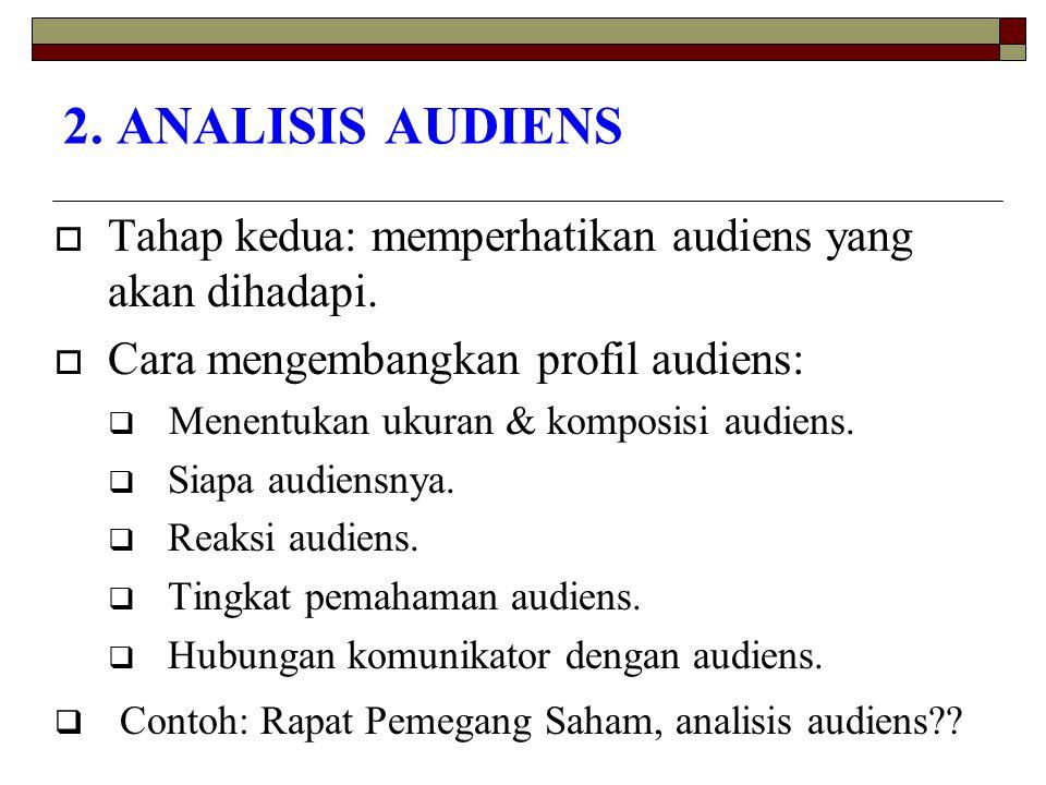 2. ANALISIS AUDIENS Tahap kedua: memperhatikan audiens yang akan dihadapi. Cara mengembangkan profil audiens: