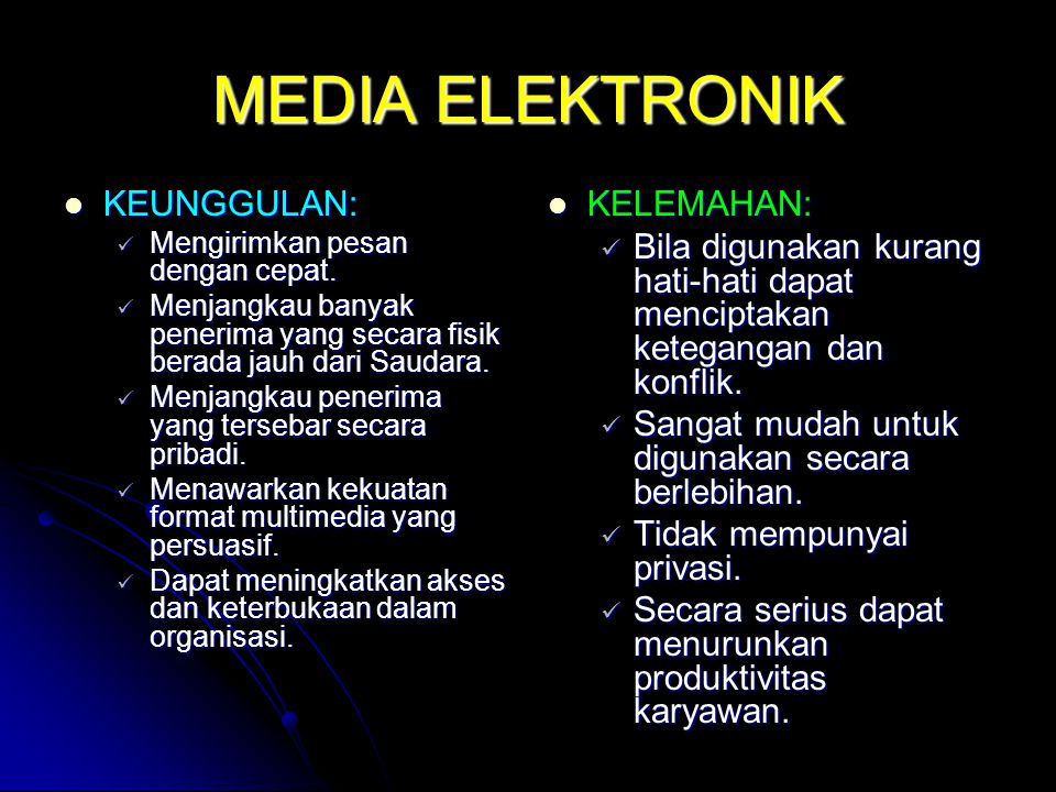 MEDIA ELEKTRONIK KEUNGGULAN: KELEMAHAN: