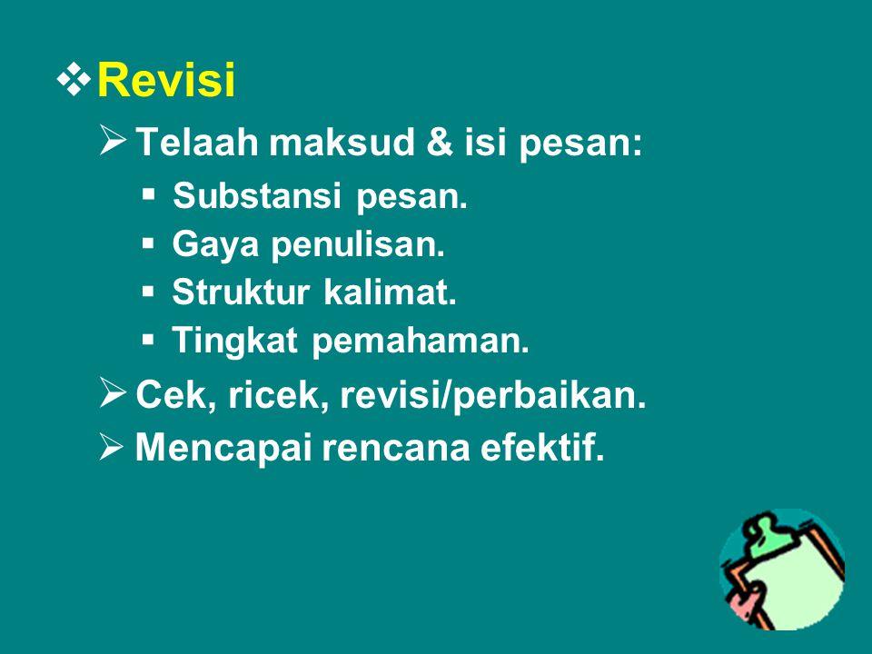 Revisi Telaah maksud & isi pesan: Cek, ricek, revisi/perbaikan.