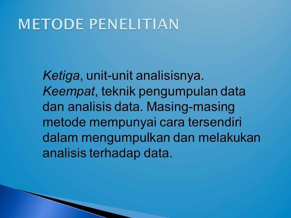 METODE PENELITIAN Ketiga, unit-unit analisisnya.