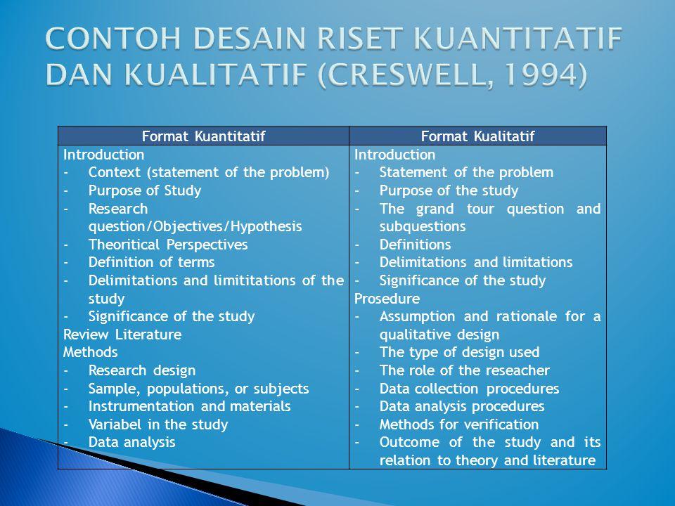 CONTOH DESAIN RISET KUANTITATIF DAN KUALITATIF (CRESWELL, 1994)
