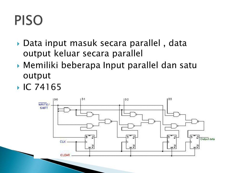 PISO Data input masuk secara parallel , data output keluar secara parallel. Memiliki beberapa Input parallel dan satu output.