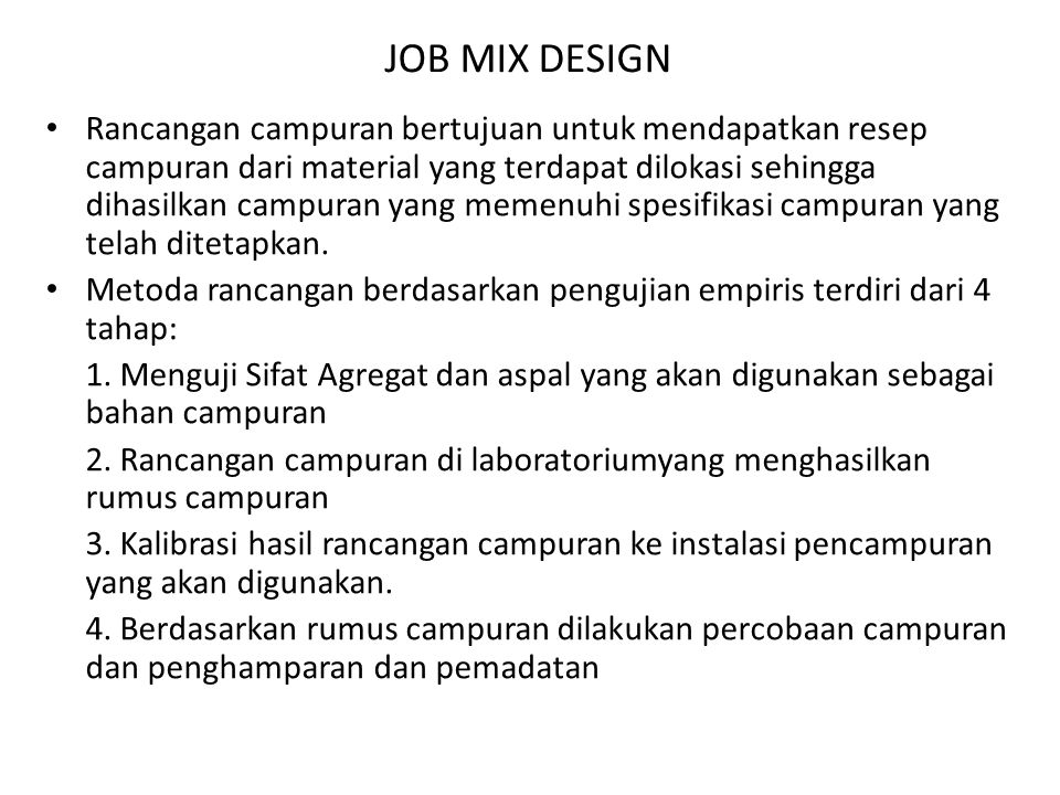 JOB MIX DESIGN