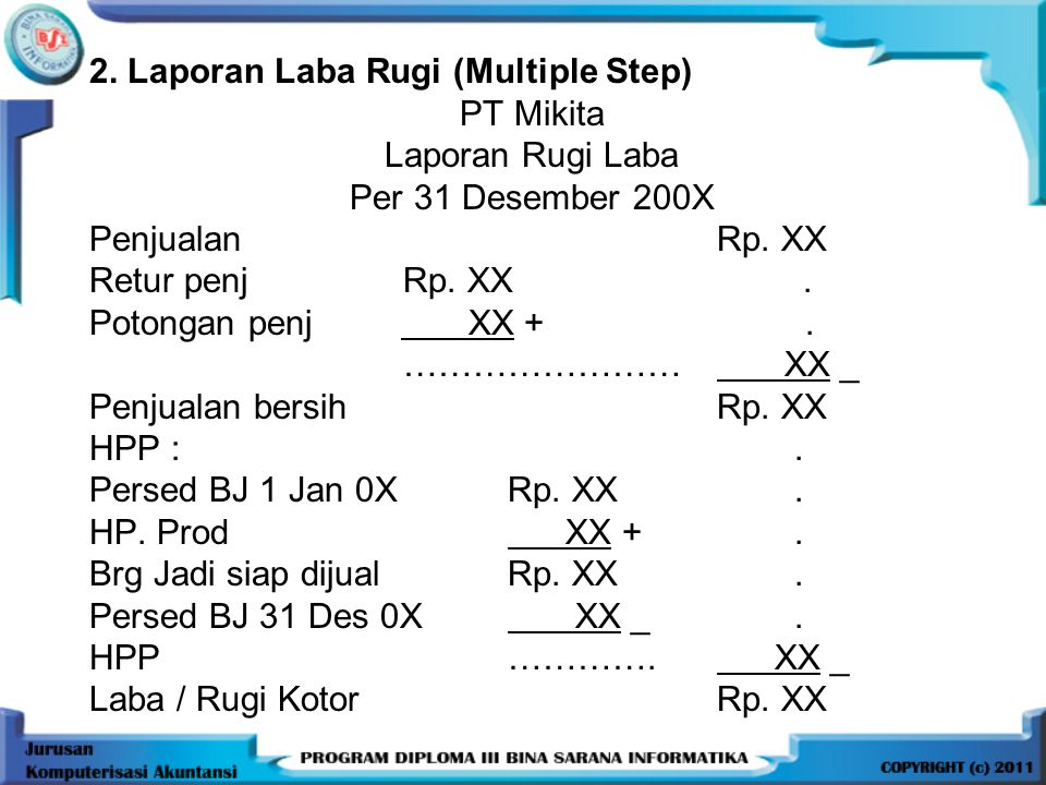 2. Laporan Laba Rugi (Multiple Step)