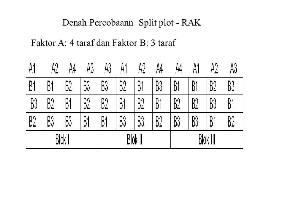 Denah Percobaann Split plot - RAK