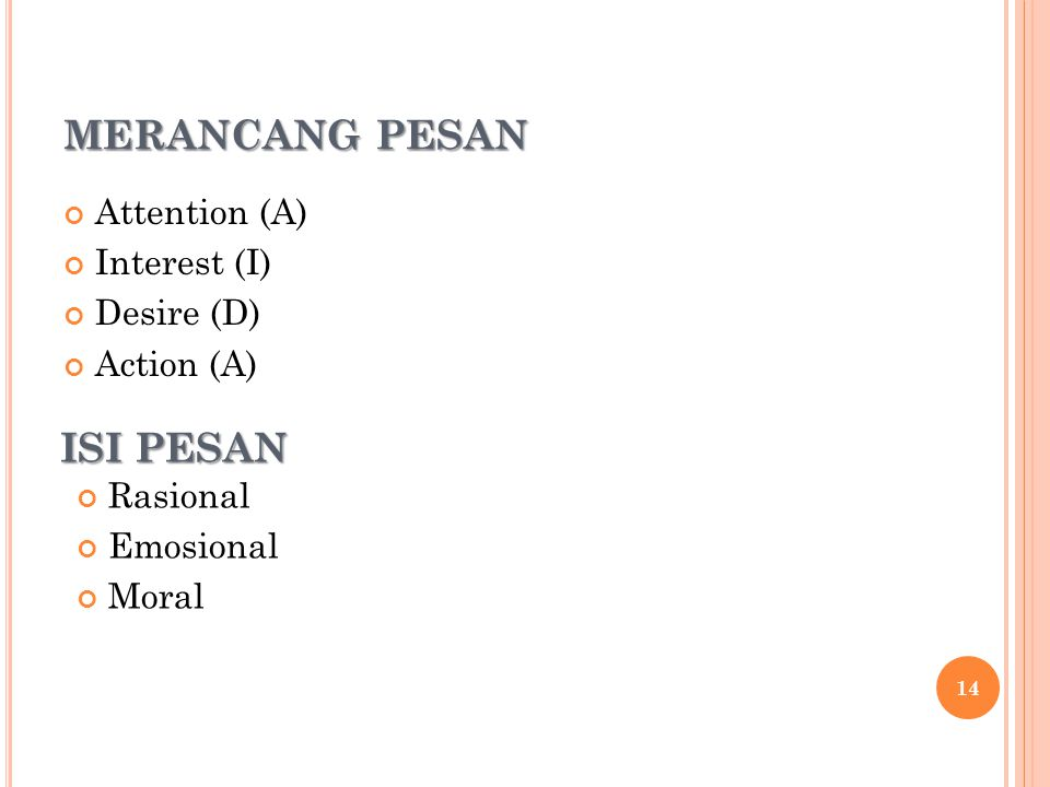 MERANCANG PESAN ISI PESAN Attention (A) Interest (I) Desire (D)