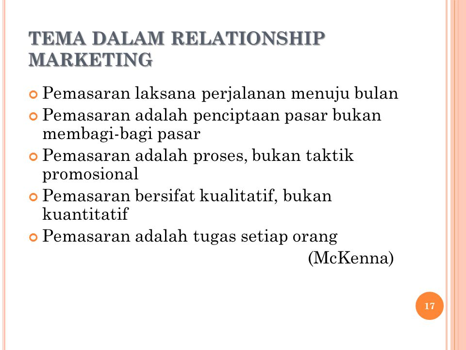 TEMA DALAM RELATIONSHIP MARKETING