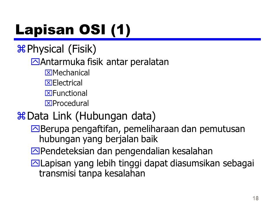 Lapisan OSI (1) Physical (Fisik) Data Link (Hubungan data)