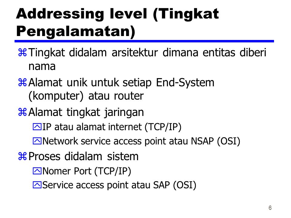 Addressing level (Tingkat Pengalamatan)