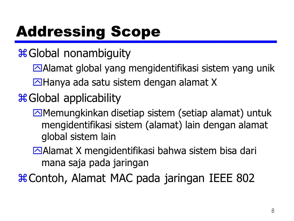 Addressing Scope Global nonambiguity Global applicability