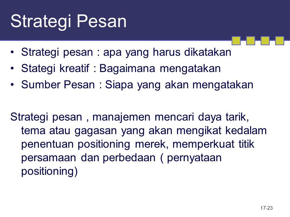 Strategi Pesan Strategi pesan : apa yang harus dikatakan