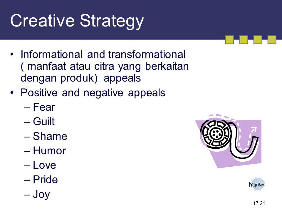 Creative Strategy Informational and transformational ( manfaat atau citra yang berkaitan dengan produk) appeals.