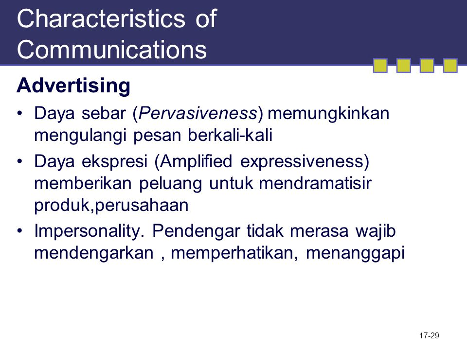 Characteristics of Communications