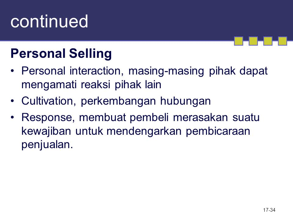continued Personal Selling
