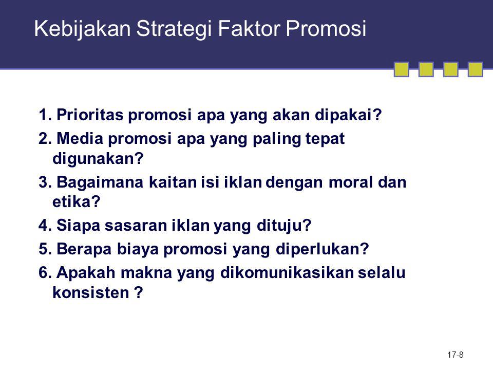 Kebijakan Strategi Faktor Promosi