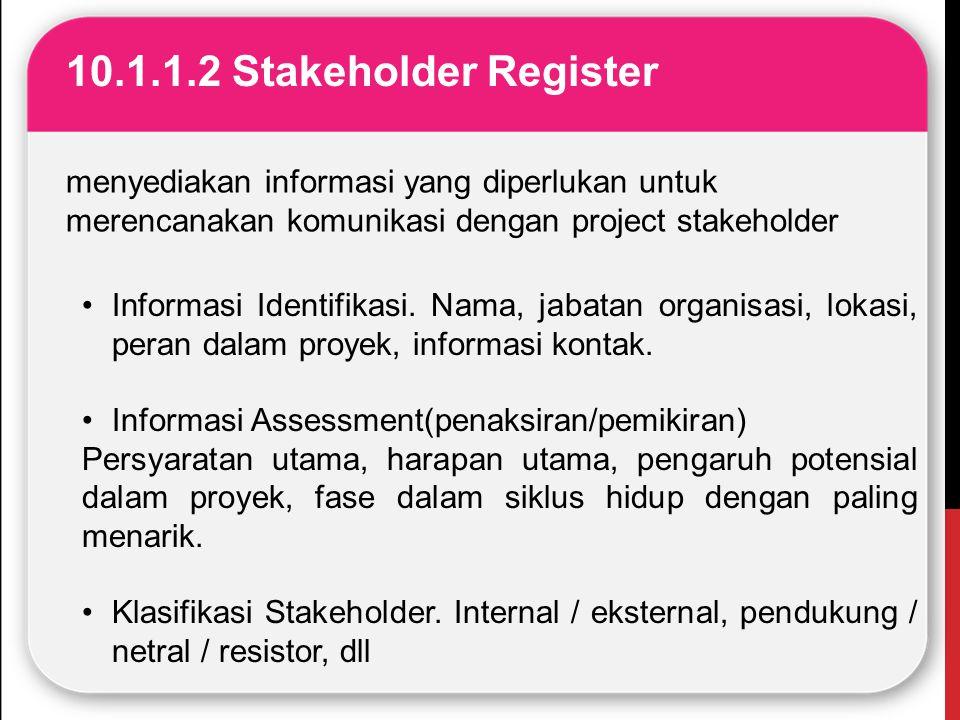 10.1.1.2 Stakeholder Register menyediakan informasi yang diperlukan untuk merencanakan komunikasi dengan project stakeholder.