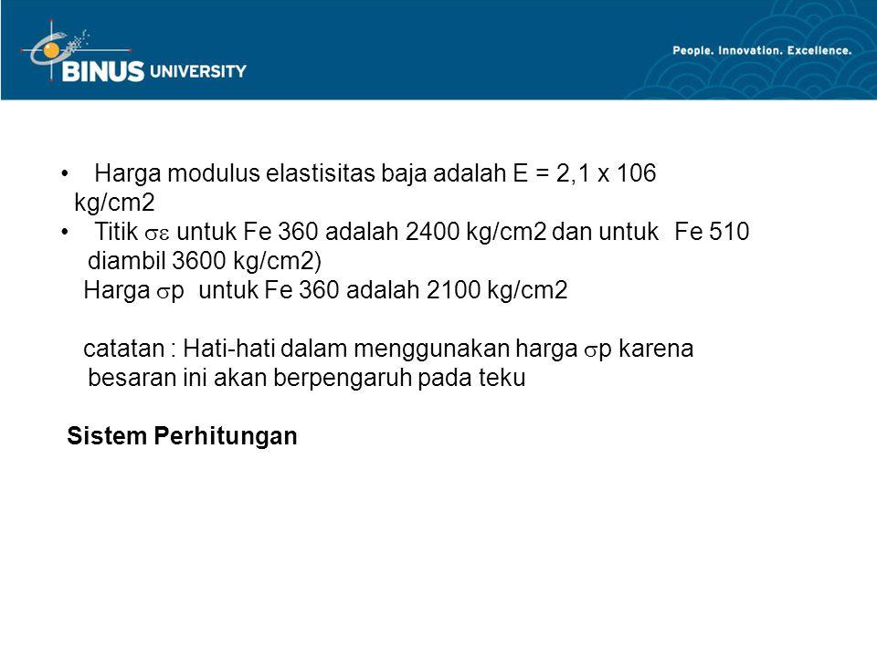 Harga modulus elastisitas baja adalah E = 2,1 x 106