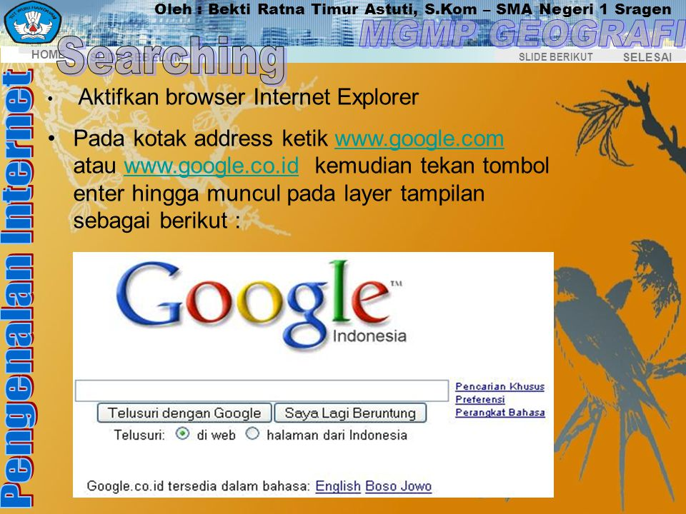 Searching Aktifkan browser Internet Explorer.