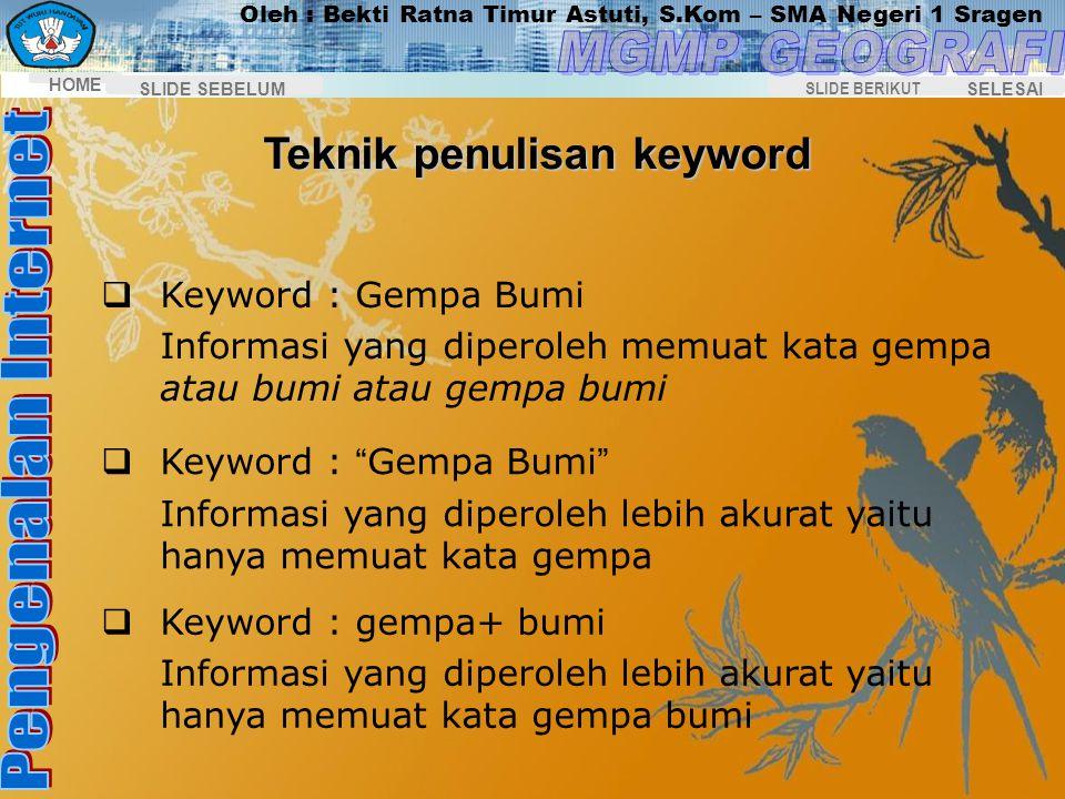 Teknik penulisan keyword