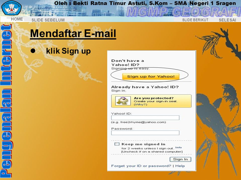 Mendaftar E-mail klik Sign up
