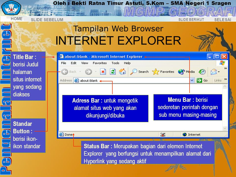 Tampilan Web Browser INTERNET EXPLORER