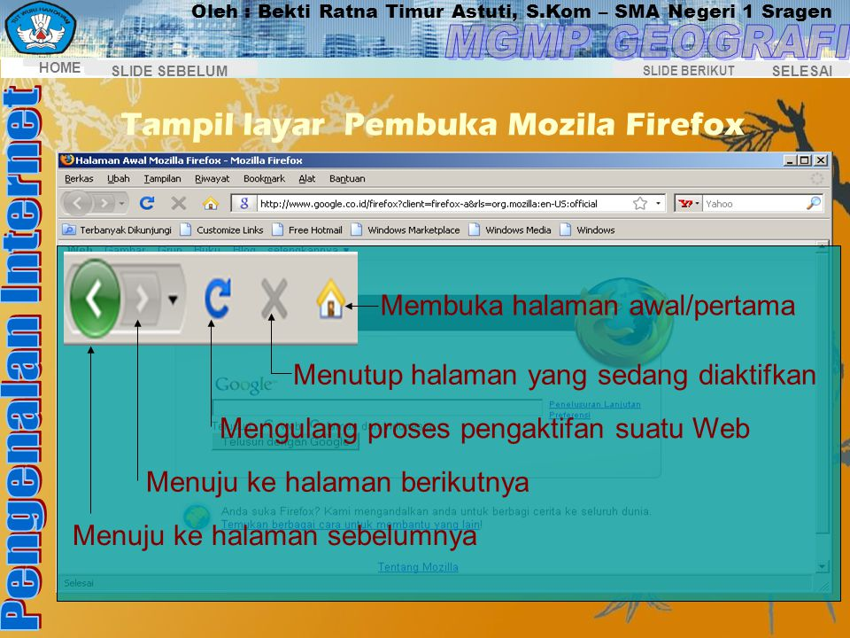 Tampil layar Pembuka Mozila Firefox