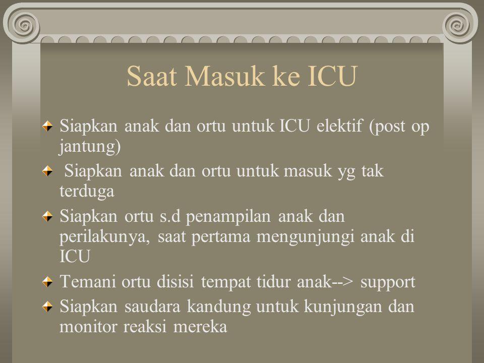 Saat Masuk ke ICU Siapkan anak dan ortu untuk ICU elektif (post op jantung) Siapkan anak dan ortu untuk masuk yg tak terduga.