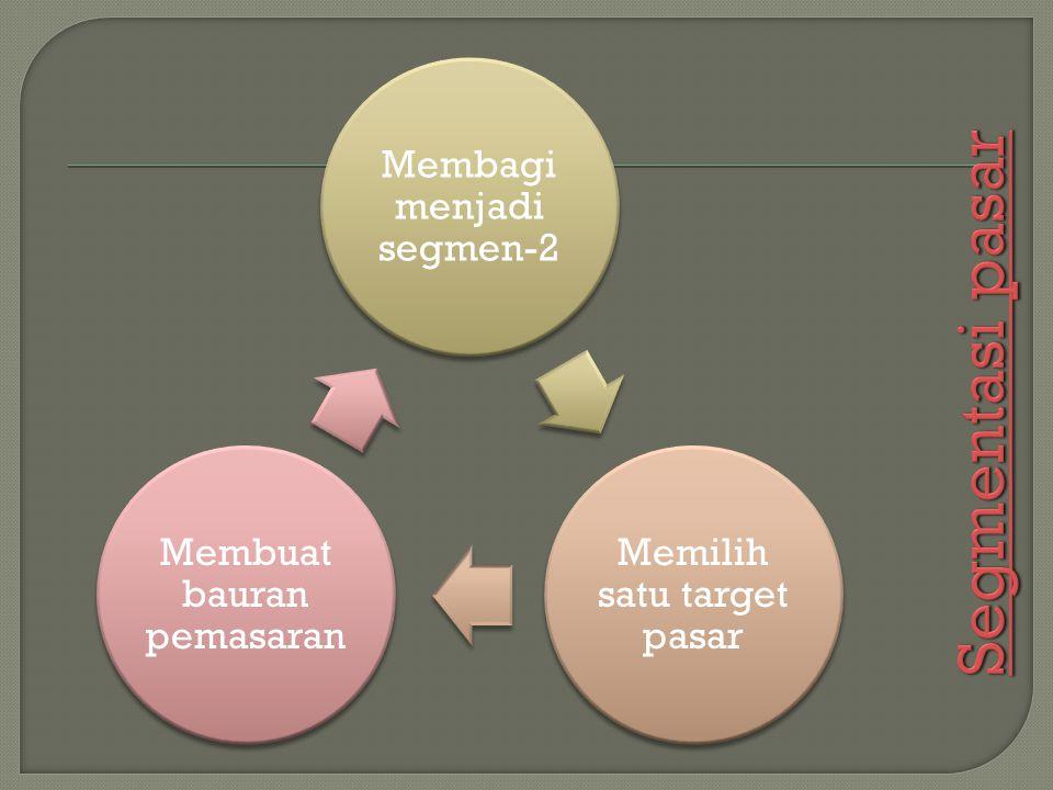 Segmentasi pasar Membagi menjadi segmen-2 Memilih satu target pasar