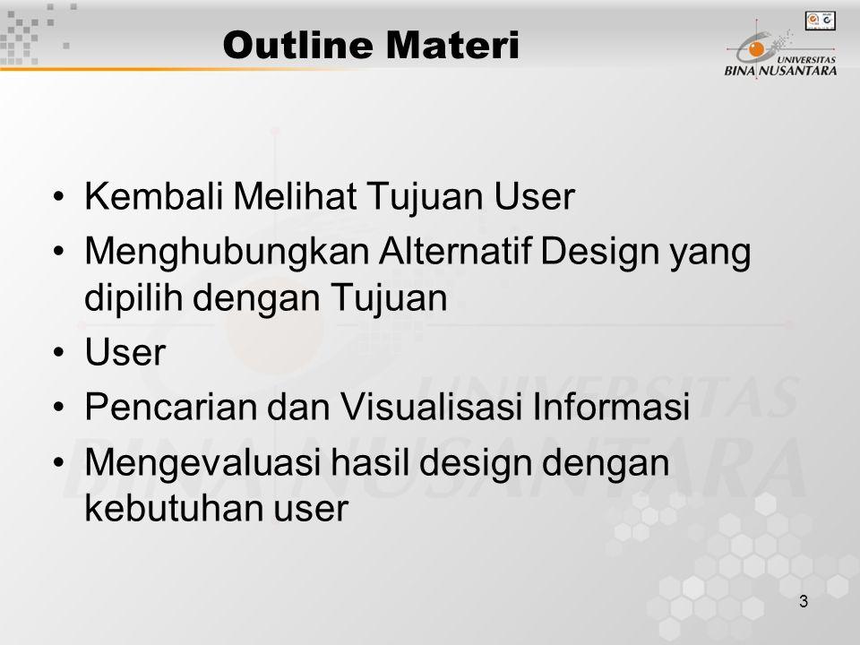 Outline Materi Kembali Melihat Tujuan User. Menghubungkan Alternatif Design yang dipilih dengan Tujuan.