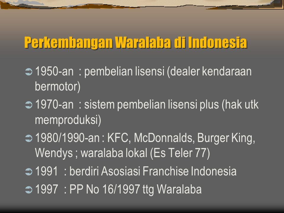 Perkembangan Waralaba di Indonesia