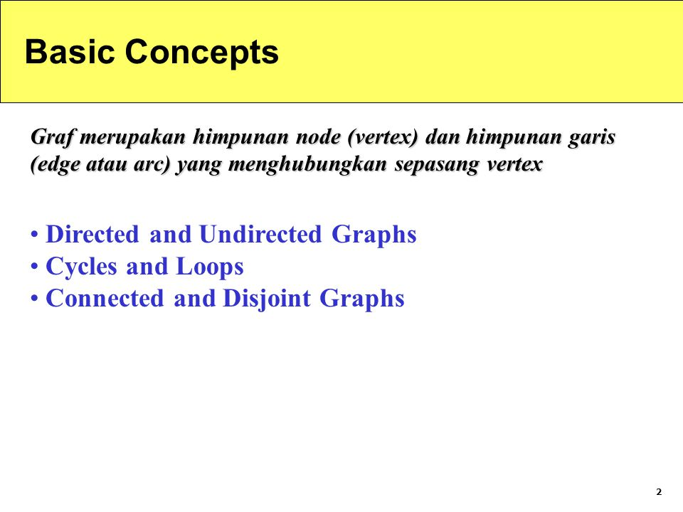 Basic Concepts Directed and Undirected Graphs Cycles and Loops