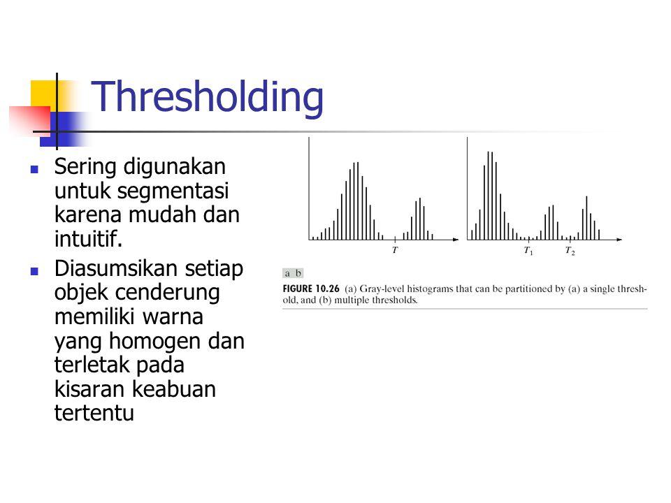 Thresholding Sering digunakan untuk segmentasi karena mudah dan intuitif.