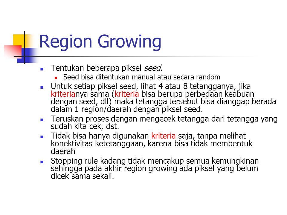 Region Growing Tentukan beberapa piksel seed.