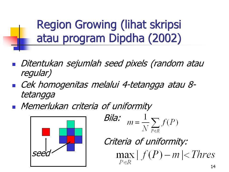 Region Growing (lihat skripsi atau program Dipdha (2002)