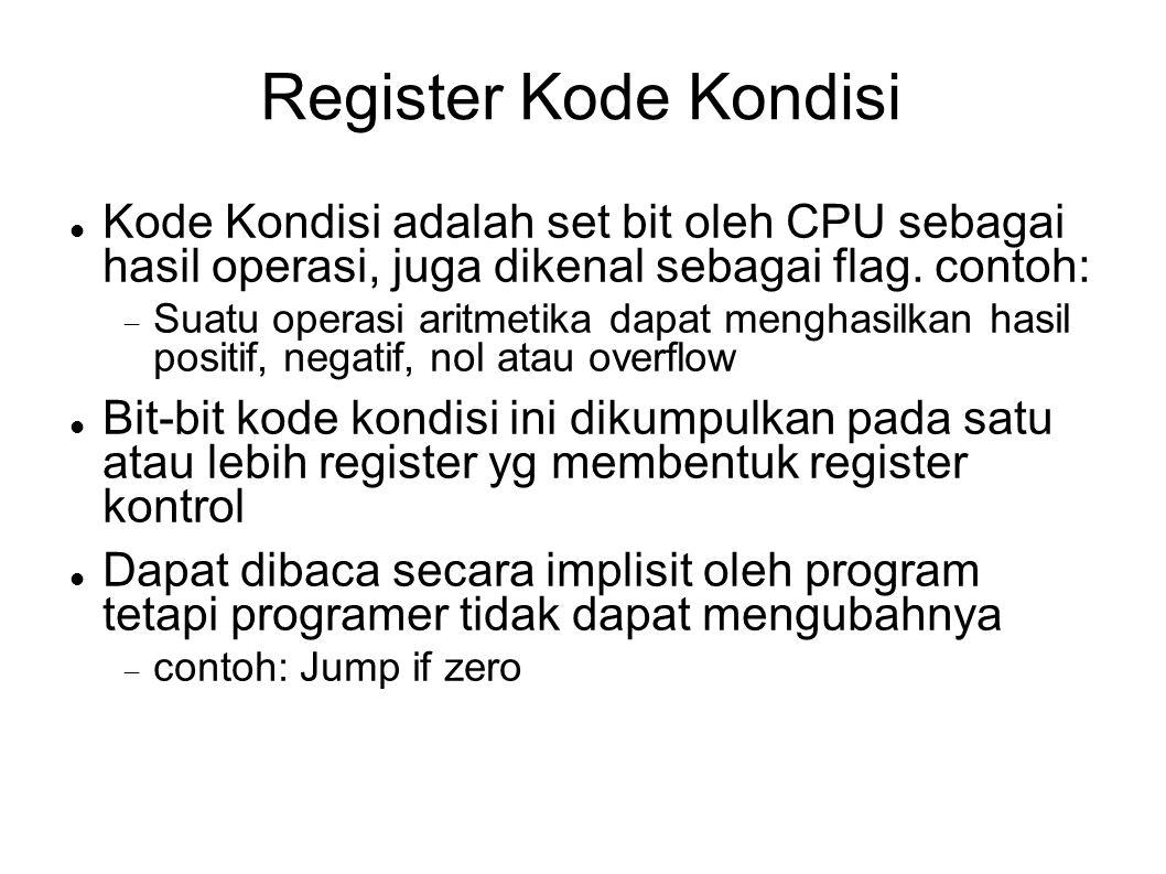 Register Kode Kondisi Kode Kondisi adalah set bit oleh CPU sebagai hasil operasi, juga dikenal sebagai flag. contoh:
