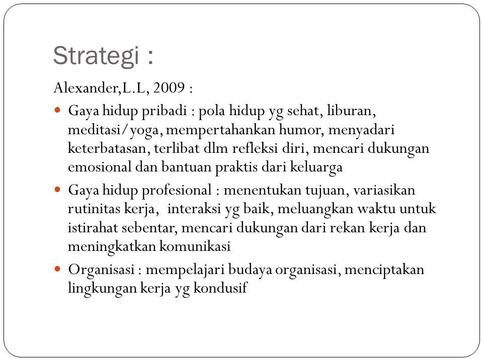 Strategi : Alexander,L.L, 2009 :